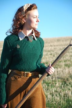 Women's Land army uniform worn by Bryony Roberts
