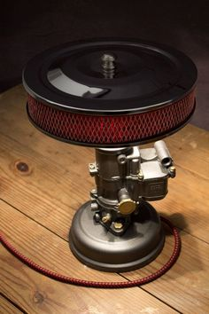 1942 Ford Carburetor Desk Lamp—One of a Kind Vintage Hot Rod Light—Gun Metal Grey w/ Chrome-Red Glow Air Cleaner Shade