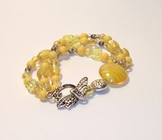 Lemonade and Dragonflies bracelet by InspiredByKarma on Etsy, $18.00  SOLD