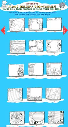 """Over 100 printable """"partial"""" cartoons to fill in, complete & color (creative writing starters) Teaching Language Arts, Teaching Writing, Teaching Tools, Teaching English, Writing Assignments, Writing Prompts, Comic Template, Writing Comics, Library Activities"""