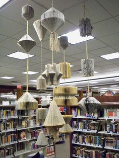 Old books created into mobiles for a library