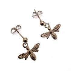 23fb1c4d6 New Sterling Silver Bee Earrings, New Handmade Sterling Silver Solid Bee  Earrings, Sterling Silver
