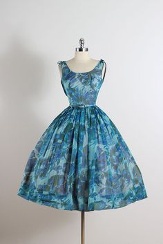 ➳ vintage 1950s dress * blue and green floral crepe chiffon * tulle & acetate lining * detachable belt * bow accents on shoulders * back sash