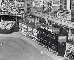 Right Field, Ebbets Field, Outfield Walls didn't meet! Hit the Abe Stark Sign And the player wins a new suit! :-) 1940s
