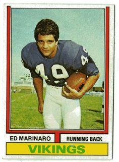Ed Marinaro Vikings | MINNESOTA VIKINGS - Ed Marinaro #189 TOPPS 1974 American Football NFL ...