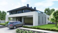 Find home projects from professionals for ideas & inspiration. Projekt domu HomeKONCEPT 60 by HomeKONCEPT Modern Exterior House Designs, Dream House Exterior, Modern House Plans, Casa Art Deco, 2 Storey House Design, Architecture Building Design, Villa Design, New Homes, Modern Home Plans