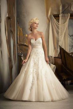 Mori Lee  TAGS:Embroidered, Floor-length, Pleats, Strapless, Cream, Champagne pink, Mori Lee, Princess,