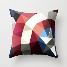 Polygon Heroes - Captain America Throw Pillow by PolygonHeroes - $20.00