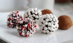 These hot chocolate rich truffles are rolled in marshmallow and candy pieces for a super-cute, festive look.