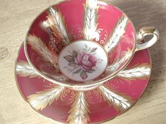 Vintage Paragon cup and saucer red & gold set