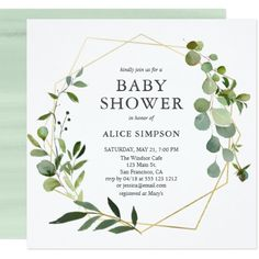 Eucalyptus Geometric Baby Shower Card