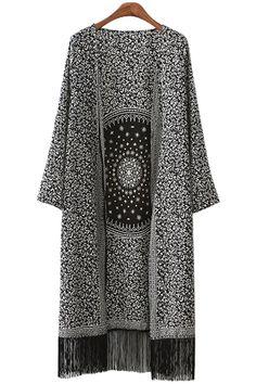 Round Pattern Print Fringe Long Sleeve Kimono