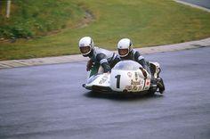 Rolf Steinhausen and Sepp Huber on their Busch König BSA sidecar at the German Grand Prix in 1976