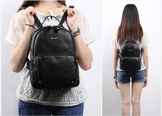 Omgnb Preppy Style Simple Design with Four Rivets Ornament Black Calfskin Casual Backpacks for Women  Style:Preppy Style Usage:Casual Material:Calfskin Color:Black Size:L*W*H: 23*11*31 (cm)
