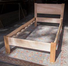 Twin Size Platform Bed Frame w Straight 14 Headboard by MountainMuleHardwood