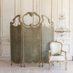 Stunning Eloquence® Vintage Cane Dressing Room Divider in Green and Gilt finish with Silver and Copper accenting the beautiful ornate carvings. Victorian Room Divider, Victorian Rooms, Room Divider Screen, Room Screen, Room Dividers, French Style Homes, French Country Style, Dream Furniture, Furniture Decor