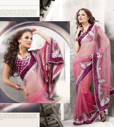 Pink Net Latest Fashion Saree 16065 With Unstitched Blouse