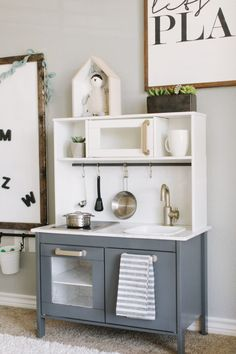 Fantastic Photos Playroom Makeover Suggestions On among my very frequent visits to IKEA I discovered cheaper lacking platforms that have been the Playroom Closet, Playroom Organization, Ikea Playroom, Montessori Playroom, Dinette Ikea, Ikea Kids Kitchen, Kitchen Ideas, Kitchen Design, Toddler Table