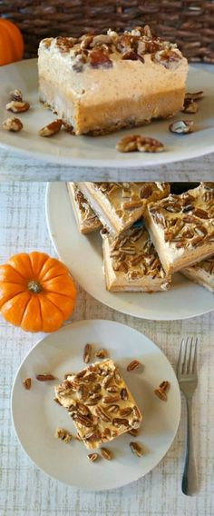 Pumpkin chiffon and pecan pie bars - Love these pumpkin pie bars - the perfect blend of rich pumpkin and sweet whipped cream!