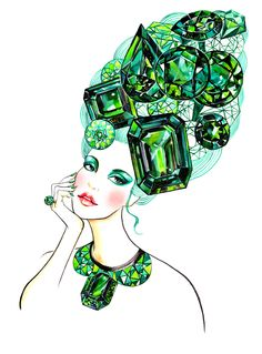 Emerald:the color of the year of 2013 - illustration by Sunny Gu #fashion #illustration #fashionillustration