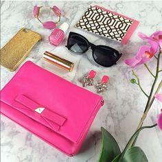 "Kate spade carah hot pink bow crossbody bag purse 7.5"" x 5"" brand-new. Ready to ship kate spade Bags Crossbody Bags"