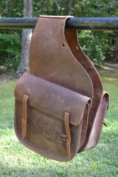 Vintage Leather Saddle Bags Horse Accessory Brown by PanchosPorch