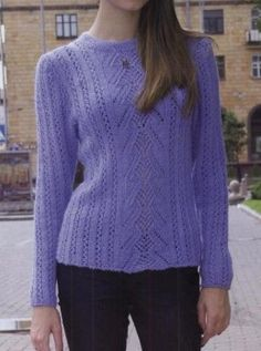 Lace Strip Sweater - Free Knitted Pattern - (knitchart)