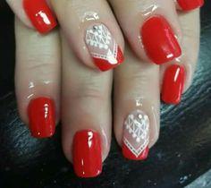 Nail Polish Style, French Nails, Red Nails, Nail Art Designs, Nailart, Beauty, Nail Hacks, Toenails Painted, Tribal Nails