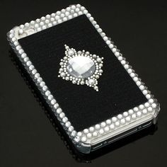 Bling Bling Crystal Back Cover and Screen Protector for Apple iPhone 4 / 4S (Jewel/Black)