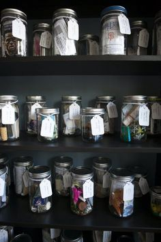 House Tour: A Colorful New Construction Portland House Memory jars from vacations on display. Vacation Memories, Travel Memories, Memories Jar, Souvenir Display, Portland House, Portland Oregon, Travel Souvenirs, Displaying Collections, My New Room