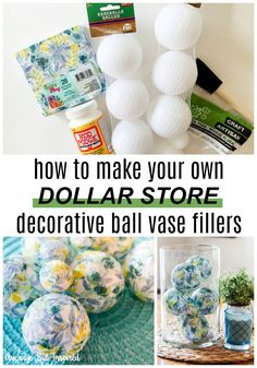 Love this! See how she turned dollar store baseballs into gorgeous home decor! These decorative ball vase fillers can be customized to suit any style! #dollarstoredecor #dollarstorecrafts #dollartreediy #diyhomedecor #vasefiller
