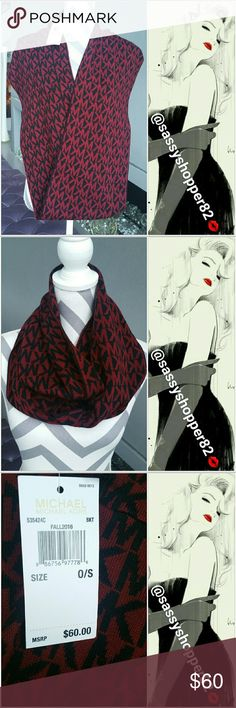 Michael Kors infinity scarf NWT 100%Authetic SMOKE FREE/PET FREE CLOSET  Brand new with tags 100% Authentic   Michael Kors logo infinity scarf. Grab this fabulous scarf to wear with your fall and winter outfits. This makes a great gift for you or someone you that is special to you. 100%acrylic, Colors of burgundy &black.   🎈 Check out my closet for more MK pieces!! 🎈    💖Shop with confidence💖 🎉🎊Suggested User🎊🎉 📮💌Same day shipping📮💌 5🌟🌟🌟🌟🌟 star rated closet 👍TOP SELLER👍…