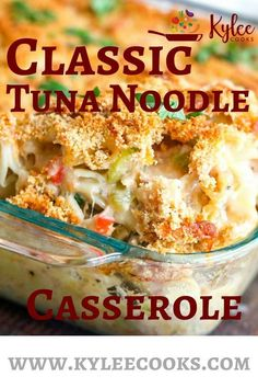 Weeknight Classic Tuna Noodle Casserole This old time classic tuna noodle casserole will bring you right back to childhood. Budget friendly and easy to double for a crowd! Hashbrown Casserole, Tuna Casserole Recipes, Casserole Dishes, Tuna Casserole Healthy, Simple Tuna Casserole, Tunafish Casserole, Tuna Macaroni Casserole, Tuna, Recipes