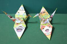 "Origami ""Yo-Kai Watch Crane"" 折り紙 「妖怪ウォッチの鶴」"