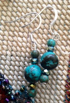 Turquoise and Crystal earrings on Etsy, $25.00