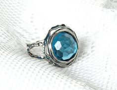 Silver Ring with Blue Topaz