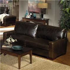 5925 Contemporay Leather Sofa with Square Track Arms by USA Premium Leather at Wilson's Furniture