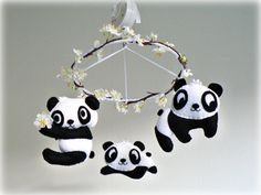 Musical panda bear mobile  Nursery baby crib by Lullaby Mobiles