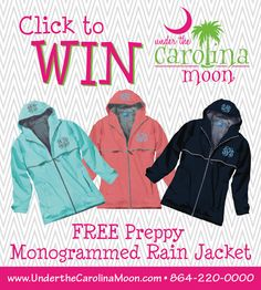 Re-Pin for a chance to win this Preppy Monogram Rain Jacket from Under the Carolina Moon