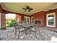 outdoor fireplace, covered patio, whats not to love?