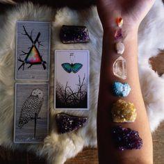 image via @sacraluna the wild unknown  crystals, chakra, tarot spread, tarot cards