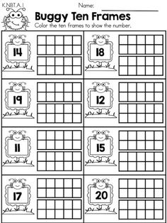 Buggy Ten Frames >> Part of the Spring Kindergarten Maths Worksheets packet