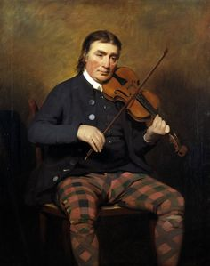 Niel Gow by Sir Henry Raeburn 1787. He is shown wearing straight-cut diced breeches and matching diced hose cut on the bias.
