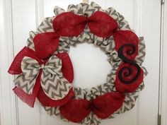 Chevron burlap front door wreath with red burlap. Taking Custom orders. Contact me!!