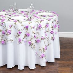 Check out the deal on 72 in. Square Sheer With Lavender Roses Overlay at Linen Tablecloth