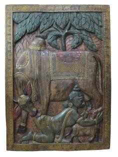 Vintage India Wall Sculpture wood panel art Krishna Playing