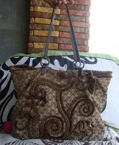 ANYA HINDMARCH Vintage Brown Applique Tote Bag di ChicnFabVintage, $199.00