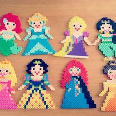 Disney Princess perler beads by Fuse Beads, Pearler Beads, Perler Patterns, Bead Patterns, Fun Crafts, Diy And Crafts, Hama Disney, Christmas Perler Beads, Hama Mini
