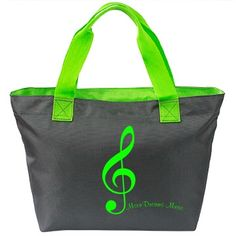#NeonGreen #MusicAndStars #DeepSmoke #BrightLime #ZipperedToteBag by #MoonDreamsMusic