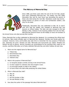 FREE History of Memorial Day Worksheet for Kids - As Memorial Day approaches and. Purpose Of Memorial Day, What Is Memorial Day, History Of Memorial Day, Reading Comprehension For Kids, Reading Passages, Free Printable Worksheets, Worksheets For Kids, Spanish Worksheets, Free Veterans Day